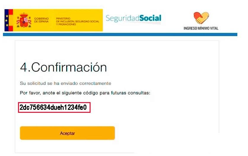 Mensaje de confirmación de solicitud enviada del Ingreso Mínimo Vital